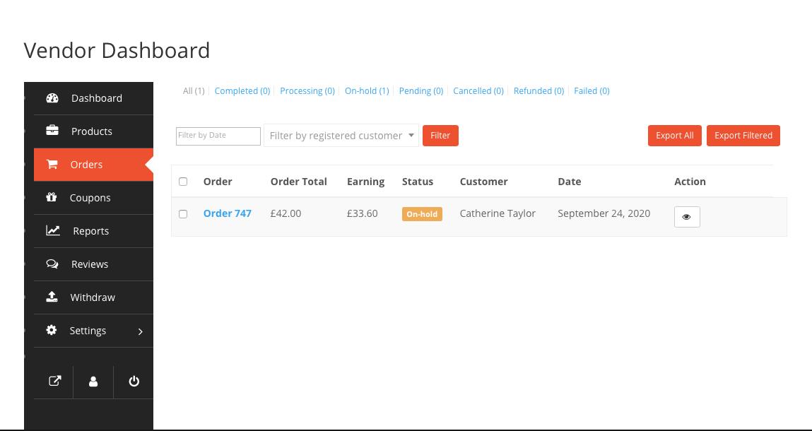 Vendor Dashboard Orders